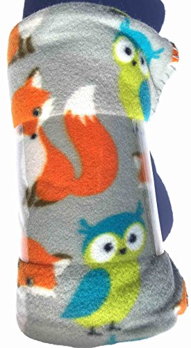 Forest Friends Fox and Owl Fleece Throw Blanket - 50in X 60i