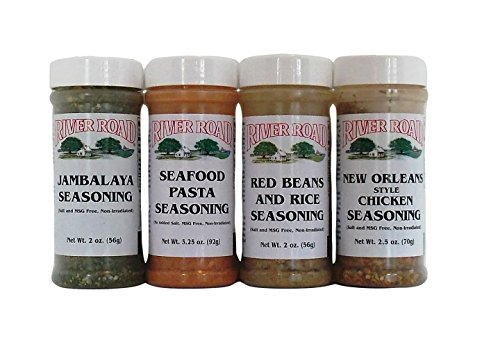 River Road by Fiesta Cajun Seasoning Favorites 4 Flavor Bundle, 1 each: Jambalaya, Seafood Pasta, Red Beans and Rice, New Orelans Style Chicken ( 2-3.75 Ounces)