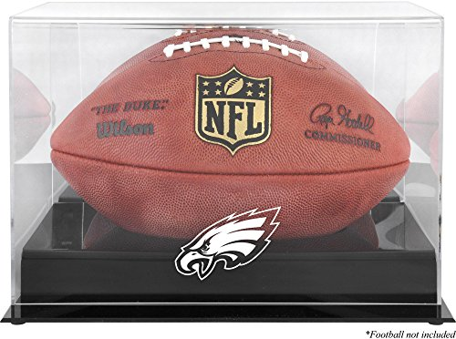 (Philadelphia Eagles Team Logo Football Display Case | Details: Black Base, Mirror Back)