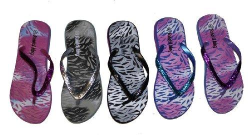 Sandalias Casual Beach Flip Flop Thong Con Estampado De Cebra / Correas De Purpurina Violeta