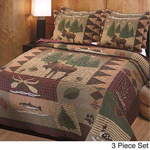 3 Piece Brown Green Burgundy Outback Theme Quilt King Set, Patchwork Lodge Cabin Hunting Everest Fishing Bedding, Patch Work Hunter Moose Pinecone Nature Southwest Themed Pattern -