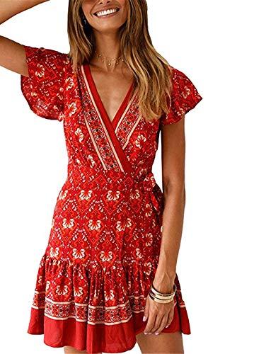 (TEMOFON Women's Dresses Summer Bohemian Vintage Floral Printed Ruffle Hem Short Sleeve V-Neck Mini Dress Jujube Red M)