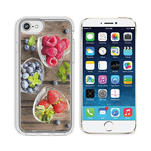 Luxlady Apple iPhone 6/6S Clear case Soft TPU Rubber Silicone Bumper Snap Cases iPhone6/6S IMAGE ID: 41294551 Mix of fresh berries in three glass ramekins in shape of heart on wooden background top vi ()
