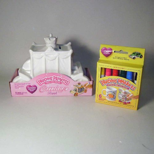 Precious Princess Carriage Ceramic Bank Kit   With Perma Coat Markers