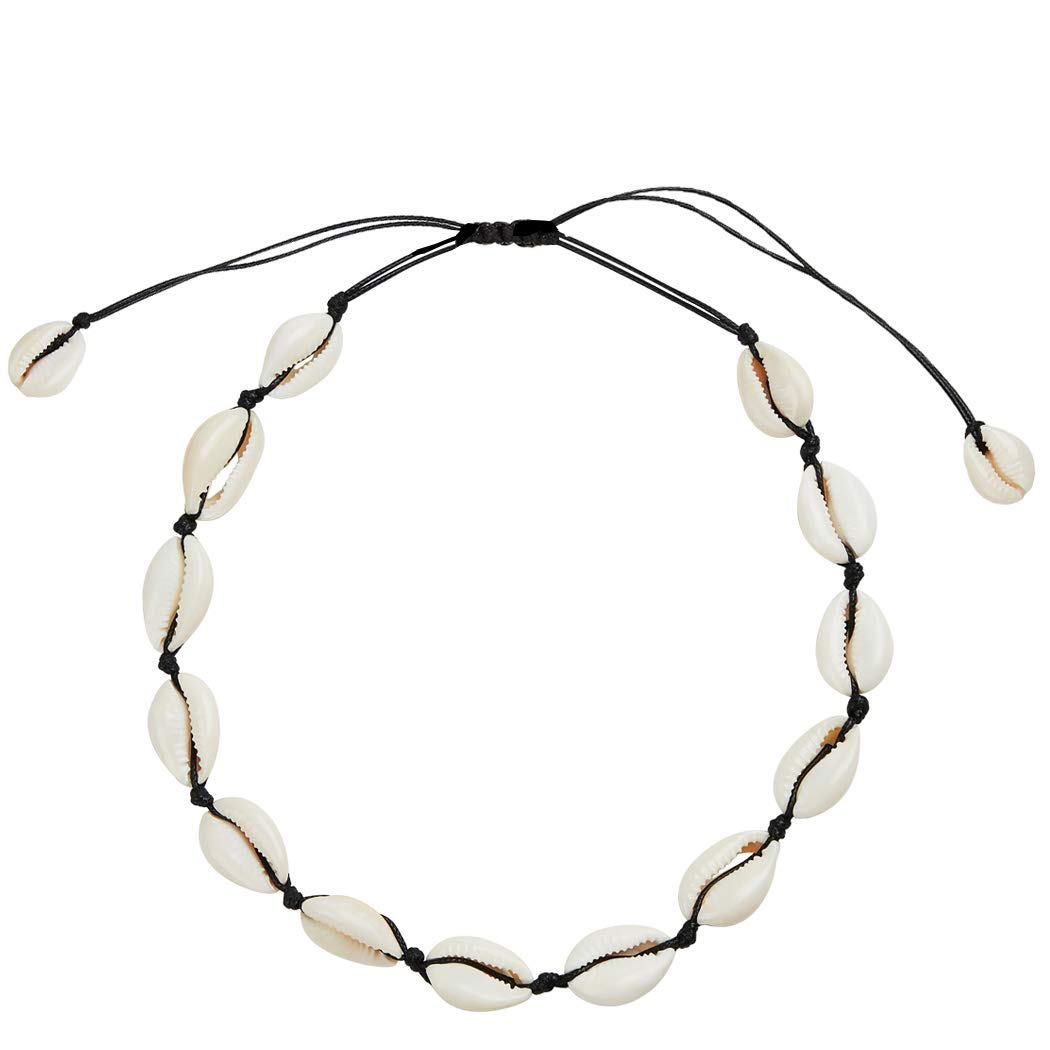 SXNK7 Natural Shell Necklace Choker for Women Girl Bead Pearl Handmade Hawaii Wakiki Beach Rope Jewelry (Black Weaving Necklace) by SXNK7