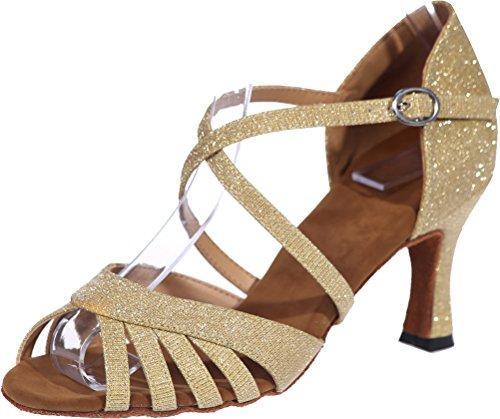 CFP Ladies Salsa Comfort Beginner Practice Latin Dance Shoes Tango Cha-Cha Swing Ballroom Party Wedding Practice Sudue Sole 3IN Body Straps Peep Toe Glitter PU Gold 6pla2mu75U