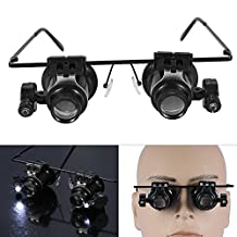 Headband Eye Glasses Magnifier, 20 x Magnifying LED Light Lens Loupe Jeweler Watch Repair Eye Lashes Extensions Tool
