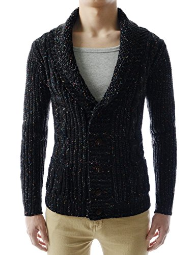 (GD132) TheLees Mens Slim Fit Collar Point Button Cardigan
