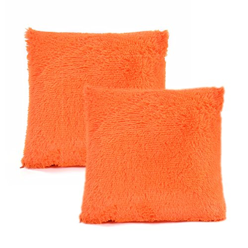 YOUR SMILE Pack of 2, Decorative New Luxury Series Merino Style Fur Throw Pillow Case Cushion Cover 18