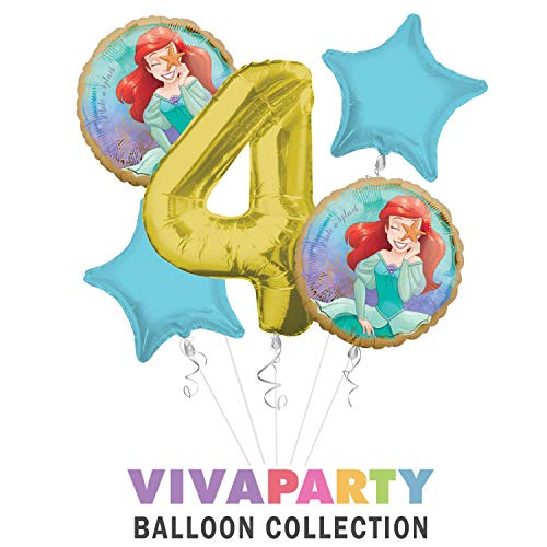 Princess Little Mermaid (Ariel) Once Upon A Time Happy Birthday Balloon Bouquet 5 pc, 4th Birthday, | Viva Party Balloon Collection