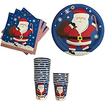 Christmas Paper Plates Napkins and Cups with Santa-- Great for Parties  sc 1 st  Amazon.com & Amazon.com: Disposable Dinnerware Set - Serves 24 - Merry Christmas ...