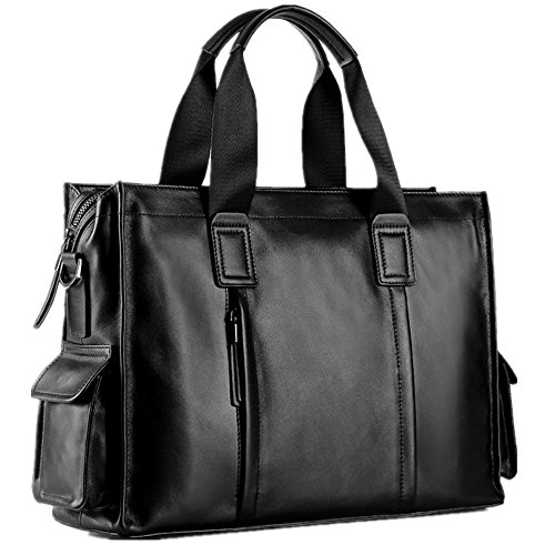 Casual Briefcase Bag For Men's Vintage Bag Notebook Suitable Qi Handbag Men's Business Business Satchel Computer Leather Inch Men's 14 Bag aqxv5wEv