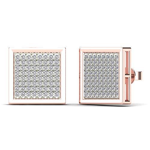 JewelAngel Men's 10K Rose Gold 3/8ct TDW Diamond Square Stud Earrings (H-I, I1-I2)