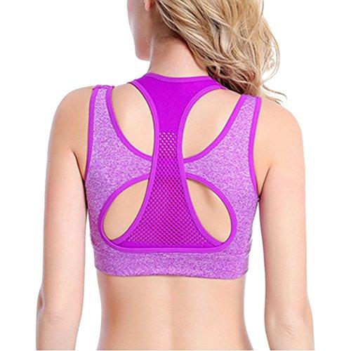DELEY Mujeres Comfort Respirable Sujetador de Deporte Chaleco Yoga Fitness Ejercicios Aptitud Entrenamiento Morado