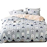 EnjoyBridal Twin Duvet Cover Sets Teens Kids Geometric Cotton Bedding Sets Boys Girls Arrows Triangle Comforter Cover Zipper Closure (Twin,Blue-Grey)