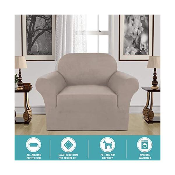 H.VERSAILTEX Housse de canapé en velours très extensible 1/2/3 places Hydrofuge Couleurs multiples, Cuir et daim, taupe, 1 Seater:81-122cm