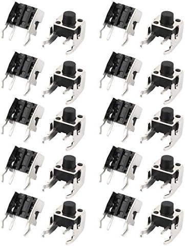 uxcell 押しボタンスイッチ プッシュボタンスイッチ モーメンタリ 4ピン プラスチック メタル 20個入り