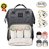 BRIGHTSHOW Diapers Backpack Bag Multi-Function Waterproof Travel Backpack Nappy Bags with Bibs and Stroller Hooks for Baby Care, Large Capacity, Stylish and Durable (Grey)