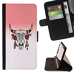 For LG OPTIMUS L90 Horns Skull Dead Indian Rose Native Leather Foilo Wallet Cover Case with Magnetic Closure