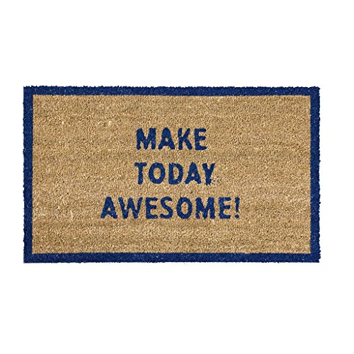 Time Concept Coir Home Door Mat - Make Today Awesome, Blue - Indoor/Outdoor Use, Entryway Decor (Personalized Mat Double Door)