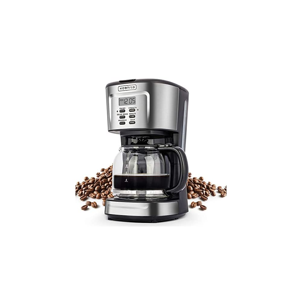 12 Cup Coffee Maker, Programmable Small Coffee Maker with Glass Carafe and Filter, Dirp Coffee Maker Coffee Pot Machine…