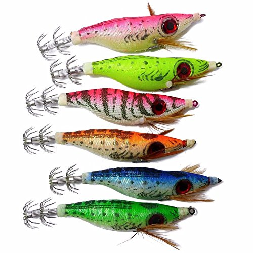 Hard Bait Lures Fishing 6 pcs/set Jigs Cuttlefish Artificial Spoon Super Lead Fish Lure (Super Bass Wig)