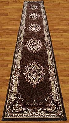 Homemusthaves Brown Beige Burgundy White Black 2.7'X14.5' Feet Persian Traditional Floral Pattern Polyester Wool Long Runner Rug Carpet