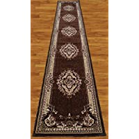 Homemusthaves Brown Beige Burgundy White Black 2.7X14.5 Feet Persian Traditional Floral Pattern Polyester Wool Long Runner Rug Carpet