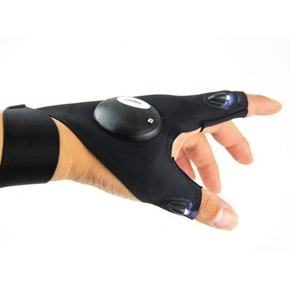 SEGRJ Outdoor Angelhandschuhe LED Taschenlampen Abdeckung Daumenindex Finger Fahrrad Camping Wandern Outdoor Arbeiten Elektrische Nachtbeleuchtung Handschuhe