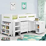 Happy Beds Kimbo White Sleep Station Children Kids Cabin Bunk Bed with Memory Foam Mattress 3' Single 90 x 190 cm