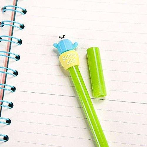 SUPPION 4PC Cartoon Cactus Gel Black Pens Kawaii Pens Cute Office Stationery Student Gift Photo #5