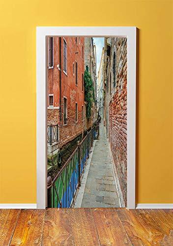 (Venice 3D Door Sticker Wall Decals Mural Wallpaper,Empty Idyllic Streets of Venezia Travel Destination Romantic Vacation Old Buildings,DIY Art Home Decor Poster Decoration 30.3x78.10152,Multicolor)