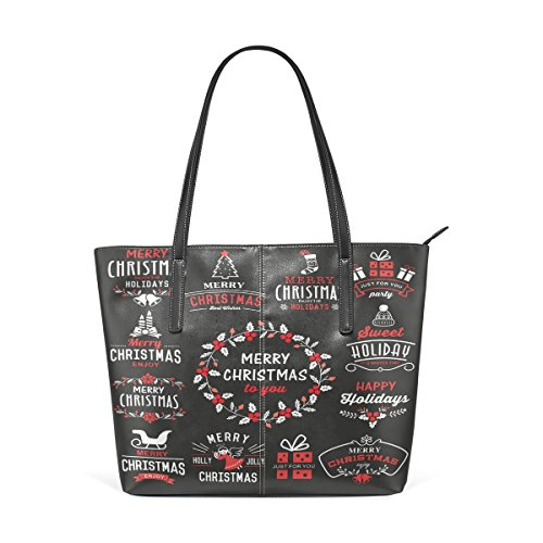 Coosun Christmas Design Elements Logo Pu Leather Handbag Bags Purse And Tote Bag For Women Means Muticolour