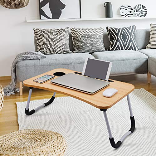 Hossejoy Foldable Laptop Table, Breakfast Serving Bed Tray, Lap Desk with Foldable Leg & Tablet Phone Groove & Cup Slot for Reading Writing Eating on Bed Couch Sofa Floor (Walnut Brown)