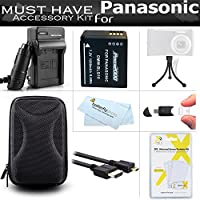 Must Have Accessory Kit For Panasonic LUMIX DMC-ZS100, DMC-ZS60, DMC-ZS60K, DMC-ZS60S, DMC-ZS100k Digital Camera Includes Extended Replacement (1200Mah) DMW-BLG10 Battery + Ac/Dc Charger + Case + More