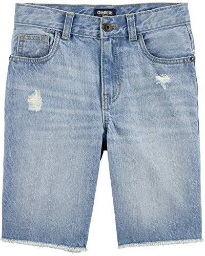 Osh Kosh Boys' Little Fashion Jean Short, Bleached Bright Wash, 10 Adjustable Waist Denim Jeans