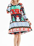 lymanchi Womens Christmas Flared A-line Dress Long Sleeve Pullover Swing Xmas Pattern Party Dresses