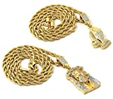 Mens Gold Two Piece Jesus & Prayer Hand Set Pendant Hip Hop 24 Rope Chain D421