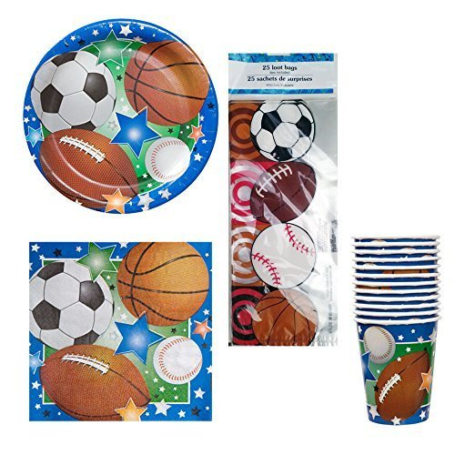 03 Sports Theme Birthday or Team Party Kit Party Pack Supplies - Football, Baseball, Soccer, & Basketball, plates, napkins, cups, cello treat bags by (Baseball Cello Pack)