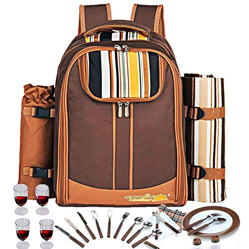 Picnic Backpack Bag for 4 Person With Cooler Compartment, Detachable Bottle/Wine Holder, Fleece Blanket, Plates and Cutlery Set Perfect for Outdoor, Sports, Hiking, Camping, BBQs(Coffee) by APOLLO WALKER (Image #2)