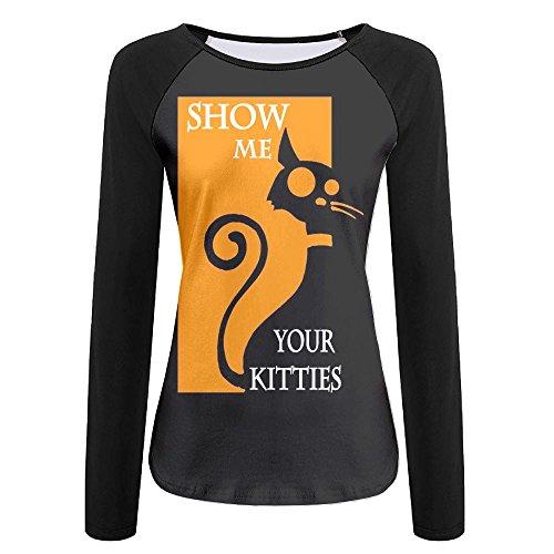 Gugize Art Show Me Your Kitties Jersey Baseball Tee T Shirts For Women Tshirt Long Sleeve