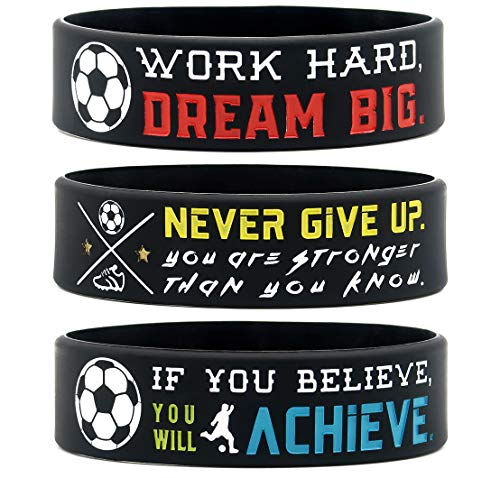 (6-Pack) Motivational Soccer Wristbands with Sports Quotes - Soccer Gifts Jewelry Accessories for Soccer Players Team Awards Party Favors - Unisex for Men Women Youth Teen Girls Boys