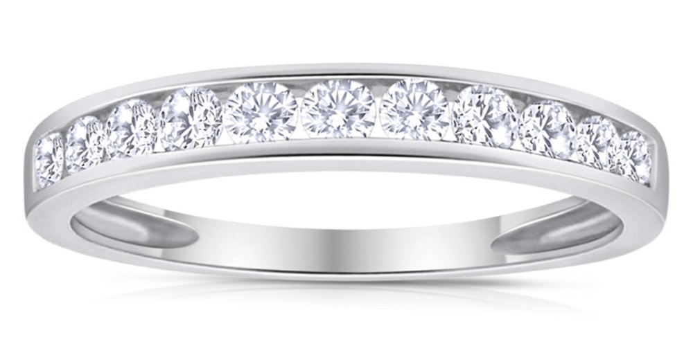 1/2ctw Diamond Channel Wedding Band in 10k White Gold 6.5