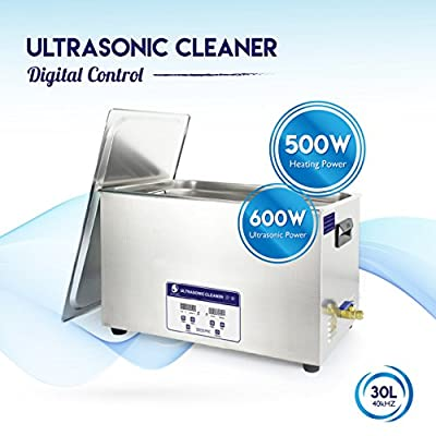 Ultrasonic Cleaner Professional Industrial Jewelry Digital Cleaning Machine Bath with Heater 1100 Watts 30L (7.4 Gallons) 40kHz Commercial Hospital Medical Equipment with Drainage System Kit Q-Tech