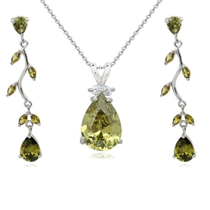 Ensemble collier et boucles doreille 18 carats plaqu/é or blanc avec cristaux autrichiens rouges en zircone