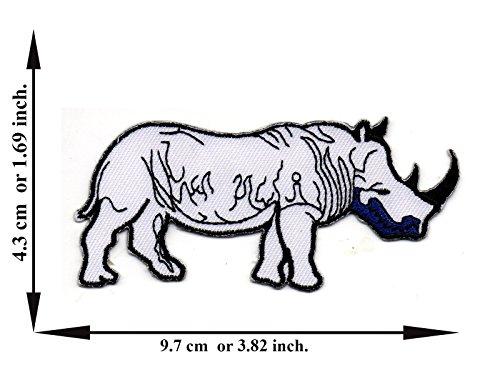 Black Rhinoceros Animals (Rhinoceros Rhino Animal Colour White Black Embroidered Applique Iron on Patch T-shirt Cap Jeans Bag)