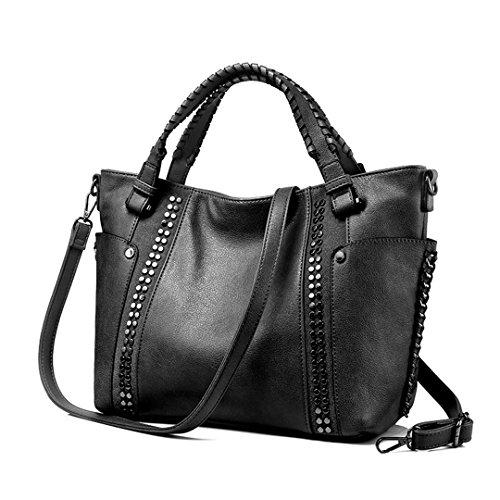 Faux Crossbody Quality Women's Black High Leather Tote wz1zcEOq
