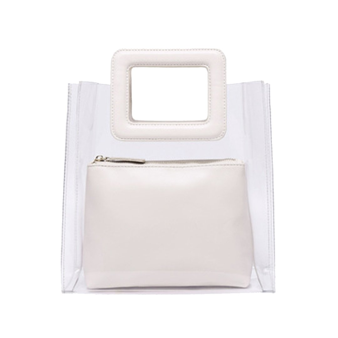 Ccassie Women Clear Top Handle Summer Beach Bags Purses Small Bucket Tote Bag PVC Transparent Handbags with Interior Pouch(White)