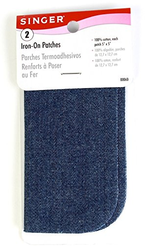 Singer Iron On Denim Cotton Patches, 5-inch, Set of 2, 3-Pac