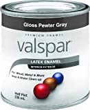 Valspar 65039 Premium Interior/Exterior Latex Enamel, .5-Pint, Pewter Gray